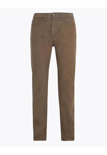 MARKS & SPENCER brown M&S Regular Fit Stretch Jeans with Stormwear 331CBAACFC5B7EGS_1