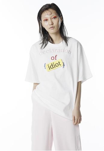 Declaration of Idiotesprit 中文 拼貼短袖上衣, 服飾, 上衣
