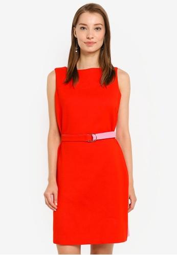 G2000 red Sleeveless Belted Shift Dress 86B89AA35FEC66GS_1