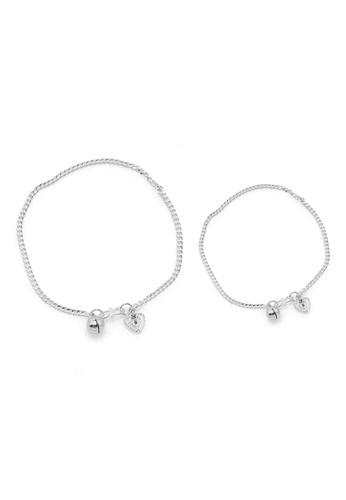Elfi silver Elfi 925 Genuine Solid Silver Curb Bracelet Anklet Set SBA-04 EL186AC39NGUMY_1