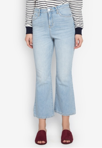 TOPSHOP blue Moto Bleach Dree Cropped Kick Flared Jeans TO099AA0KP3IPH_1