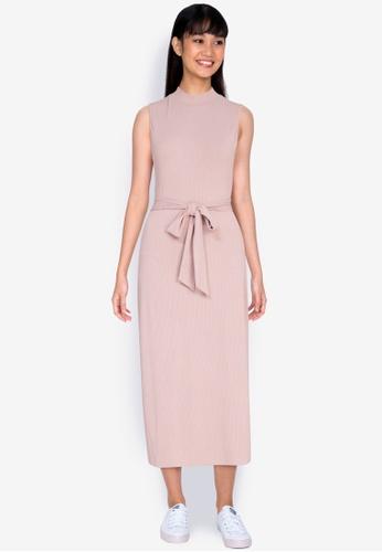 ZALORA BASICS pink Turtle-Neck Midi Dress 1438BAACE5E485GS_1