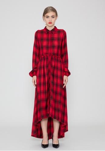 2a5efad4858541 SH by SILVIAN HEACH multi Red Checkerd Shirt Dress 6C9FBAAD22CE62GS 1