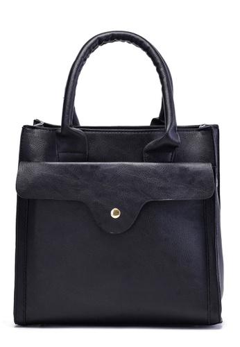 Vince black Structured Vegan Leather Tote with Sling Strap ( Black ) VI456AC24FLVMY_1