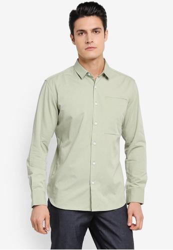 ZALORA green Soft Cotton Twill Long Sleeve Shirt 04E49AA4DEFC88GS_1