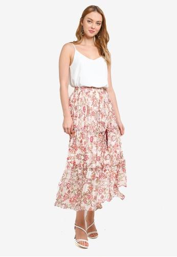 Hopeshow beige Elastic Waistband Pleated Floral Midi Skirt EFDCEAA01D3482GS_1