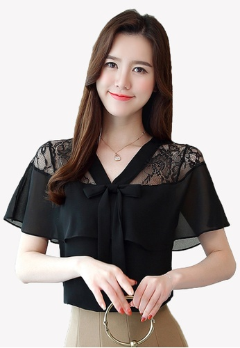 Halo black Lace Shoulder Blouse 5C388AA673F382GS_1