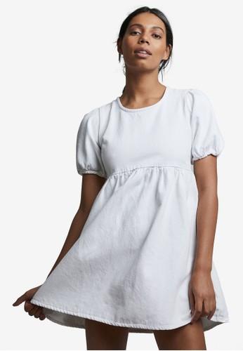Cotton On white Denim Open Back Babydoll Mini Dress 7D716AA793A606GS_1