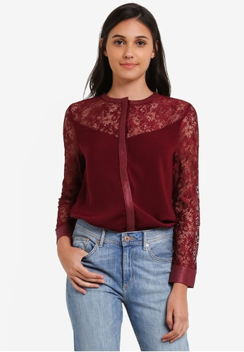 Something Borrowed red Lace Panel Top 10205AA5421C07GS_1