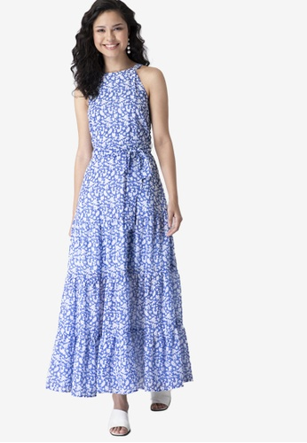 FabAlley blue Blue Ditsy Floral Halter Dress 79FC7AA13486FBGS_1