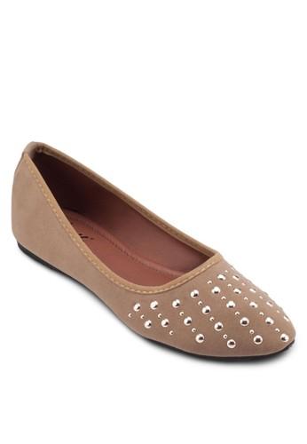 esprit 台中迷你鉚釘麂皮平底鞋, 女鞋, 芭蕾平底鞋
