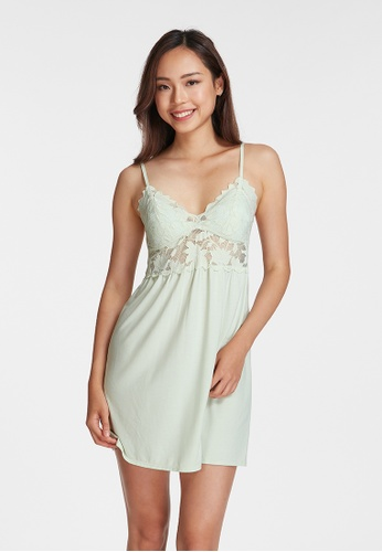6IXTY8IGHT green GEMMA, Satin Slip Dress HW08606 2C43EAA358B3AEGS_1