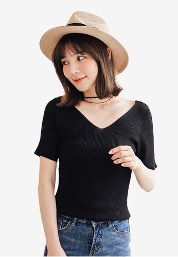 Tokichoi black Basic V Neck Top 3391BAA303176BGS_1