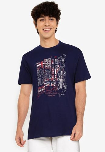 Ben Sherman blue Brighton Flags Tee 763BEAAC82606AGS_1