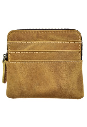 LUXORA brown The Ninja Co. Top Grain Leather Card Wallet Zip Purse Coin Holder Brown 55224AC1DFF1C3GS_1