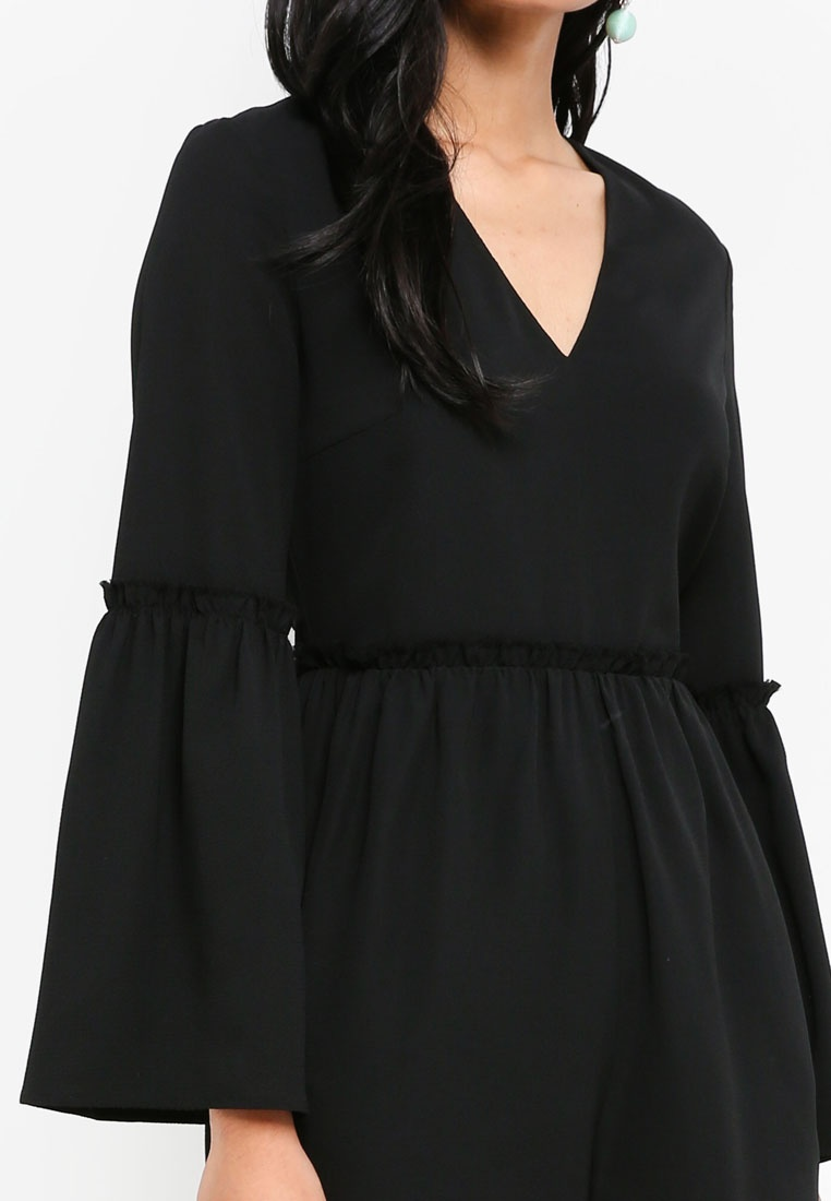 Sleeve Black Something Borrowed Raw Edge Flare Romper wxwaI7qY