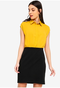 4956e8e6c94 ZALORA black and yellow Shirt Dress With Bodycon Skirt 10349AA04359AEGS 1