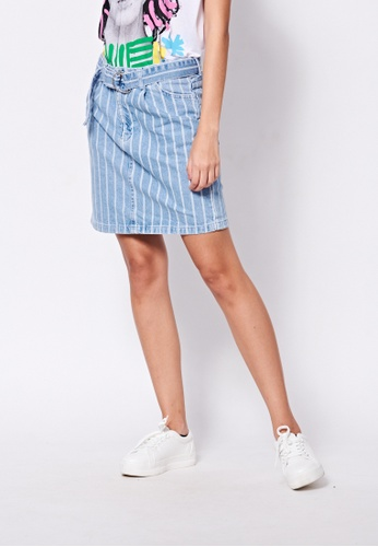 United Colors of Benetton blue Striped Mini skirt CD8F3AACC0A799GS_1