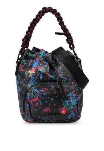Desigual black Leather Effect Printed Bucket Bag FC5F6AC90F098DGS_1