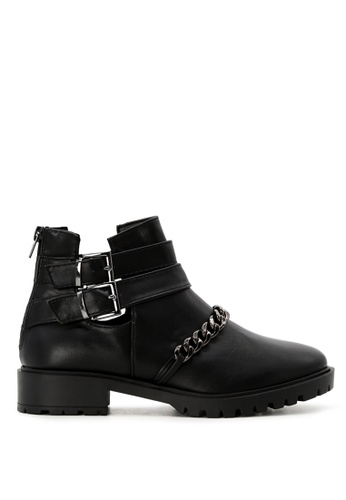 Rag & CO. black Black Cutout Boots with Strap and Metallic Chain RCSH1742 76258SHE26654BGS_1