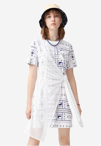 FILA white FILA x White Mountaineering Asymmetric Net Patchwork Dress 604CEAADDF0F75GS_1