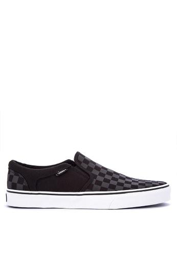 Vans black Asher Slip on Sneakers A8FFFSHB5D65C9GS_1