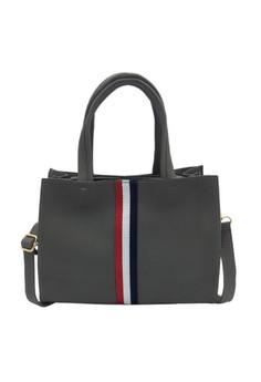 Kly8784 Tri Color Stripe Leather Handbag Shoulder Bag image