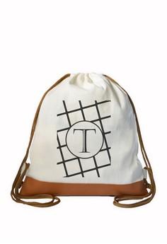 Drawstring Bag Minimalist Initial T