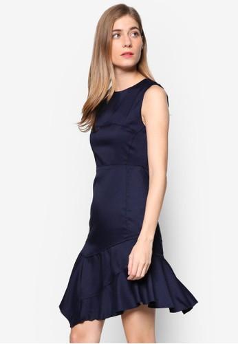 Agnesesprit 京站 層次起褶裙擺無袖連身裙, 服飾, 洋裝