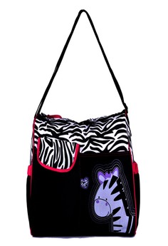 Fashionable Mommy Travel Diaper Bags with Zebra Animal Print (Large Size)