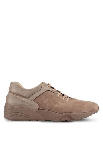 ZALORA brown Mixed Materials Trainers 3AE8ESH19FAE9AGS_1
