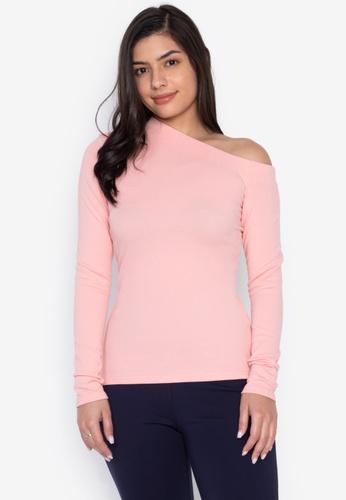 Wear Kris pink Asymmetric Knit Top E874CAA7FCBC0BGS_1