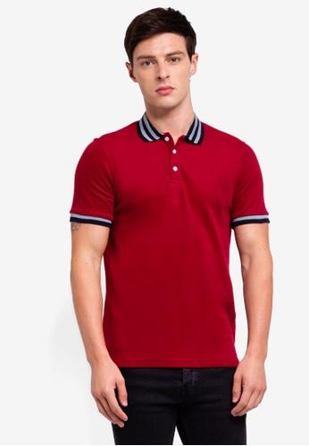 UniqTee 紅色 Slim Fit Bomber Stripe Polo Shirt CE9BEAAB7F703EGS_1