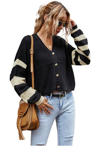 Twenty Eight Shoes black VANSA Striped Knitted Jacket  VCW-C6526 9A9A0AA77C210AGS_1