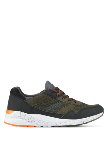 Superdry black and green Street Runner Trainers A18D8SHCA4EA4FGS_1