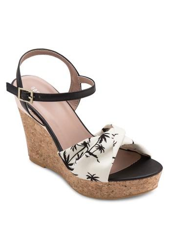 棕櫚印esprit 鞋花木製楔形涼鞋, 女鞋, 鞋