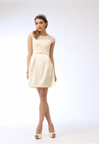 esprit高雄門市優雅簍空雷絲拼接緞面布短禮服, 服飾, 短洋裝