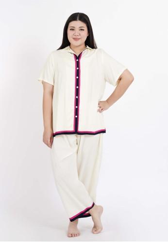 Amara Plus beige Amara Plus Loungewear Piyama Beige Trouser Set C98F2AA1B3B2F4GS_1