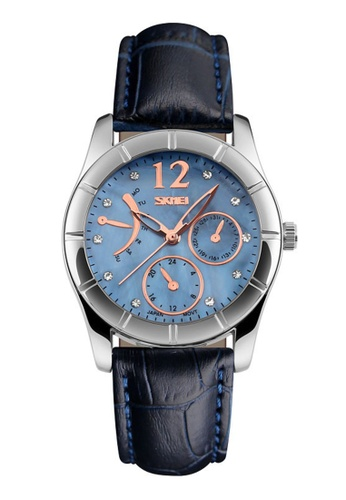 Skmei blue SKMEI 6911 Ladies's Fashion Elegant Quartz Leather Strap Watch (Blue) SK707AC0RXDMMY_1