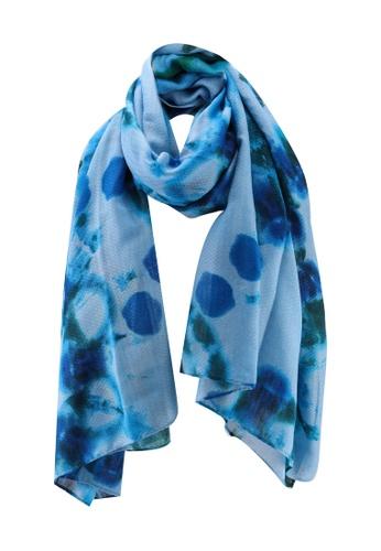 Desigual blue Sheer Printed Scarf 08EA4AC3FFC333GS_1