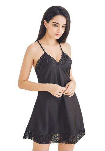 LYCKA black LCB6023-Lady Sexy V-Neck Sleeveless Nightwear -Black AAD20US8FB5467GS_1