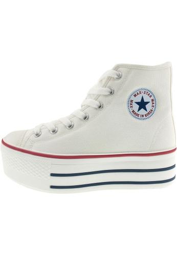 Maxstar 白色 新款韩国鞋C50-7H時尚帆布布混合女白色 US Women Size MA345SH36GVRTW_1