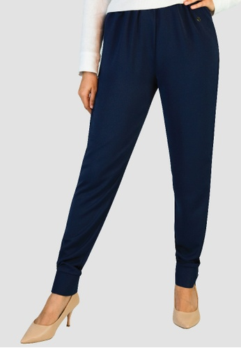 Zaryluq blue and navy Cuffed Pants in Midnight Blue 9271AAA7F6B191GS_1
