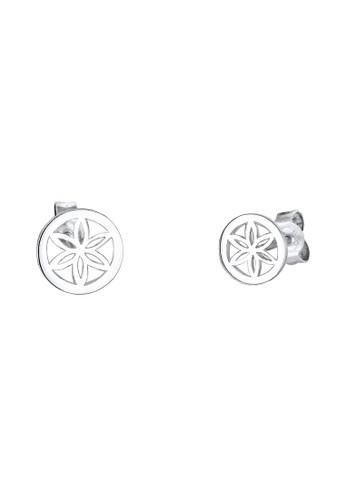 花卉飾 925 銀耳環, 飾esprit sg品配件, 耳釘