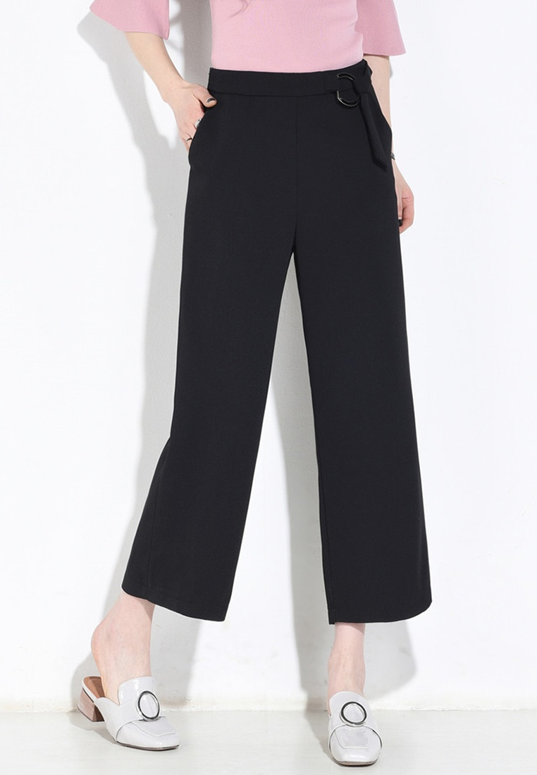 Lara Pants High Women's black Cropped Waist UxrUZqSO