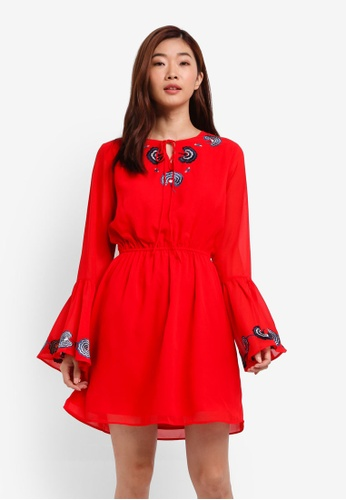 ZALORA red Embroidered Tie Front Dress 67395AA479C9AFGS_1
