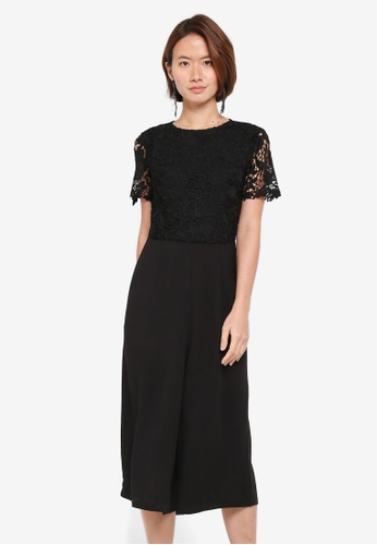 ZALORA black Crochet Top Jumpsuit E60EFAAAEE460CGS_1
