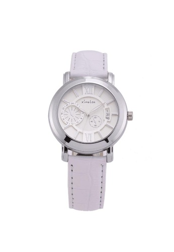 Stylebox white New Xinslon Leather Watch with Sub-dial Design 6BFDBAC7183E60GS_1