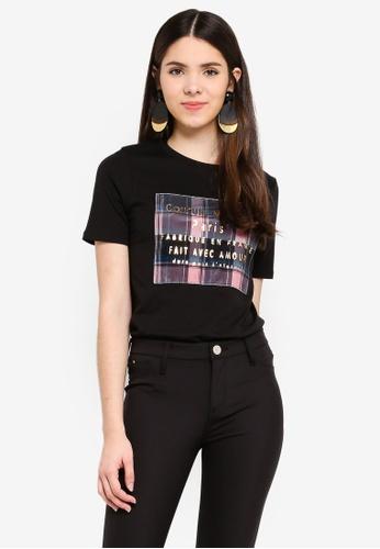 River Island black Couture Check Box Print T-Shirt A885AAA67F562FGS_1