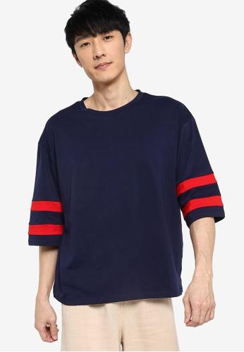 ZALORA BASICS navy Stripe 3/4 Sleeve Boxy T-Shirt 63660AAFDCE003GS_1